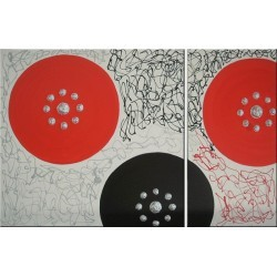 Cuadro rojo y plata