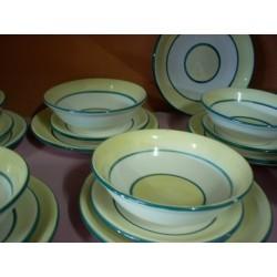 Vajilla 19 piezas rayas amarillas y verdes