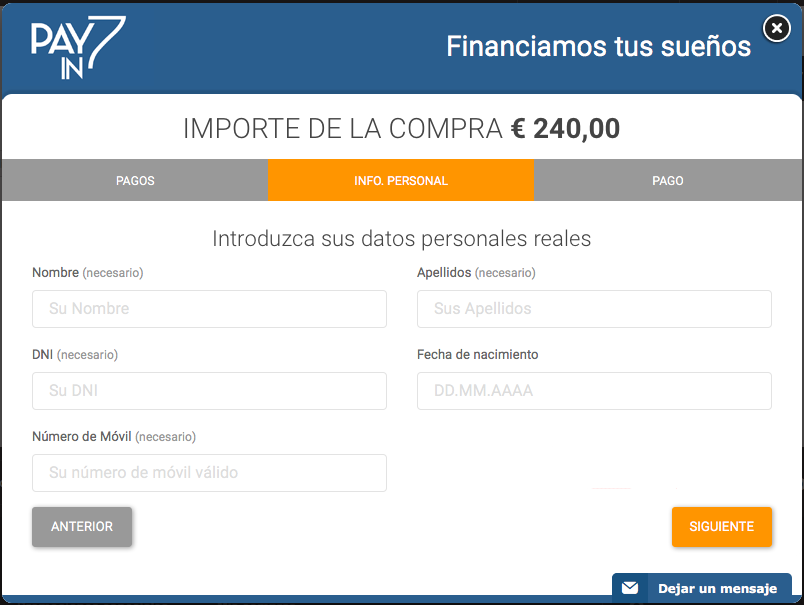 Confirmar Financiación